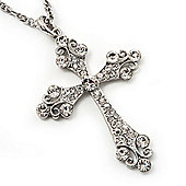 Diamante Cross Pendant Necklace In Rhodium Plated Metal - 62cm Length with 6cm extension