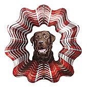 Iron Stop Designer Glitter Chocolate Labrador Wind Spinner 10in Garden Feature