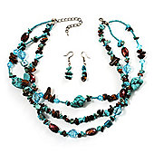 Multistrand Turquoise Stone Necklace And Drop Earrings Set (Silver Tone)