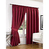 Dreamscene Luxury Faux Silk Blackout Curtains Ready Made Pencil Pleat Lined Free Tiebacks - Red