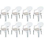 Pack of 8 Garden Chair Cushions - Fits Resol Palma / Cool - Beige