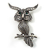 Charming Marcasite Crystal Owl Brooch
