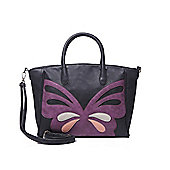 Black and Purple Butterfly Tote Bag