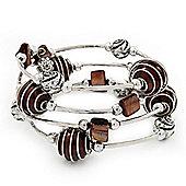 Silver-Tone Beaded Multistrand Flex Bracelet (Chocolate Brown)
