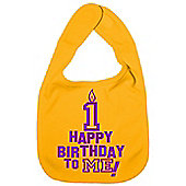 Dirty Fingers Happy 1st Birthday to me! Baby Bib Yellow