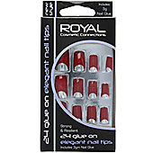 Royal 24 Glue-On Elegant Nail Tips - Red
