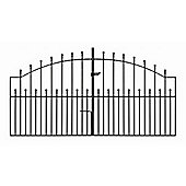 Wrought Iron Style Ball Finial Arched Driveway Gate 274cm GAP x 122cm High
