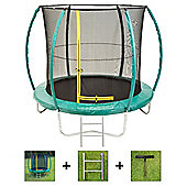 Up and About 8ft Hurricane Green Trampoline Package with Free Ladder, Weather Cover and Building Tool