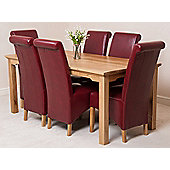 Aspen Solid Oak 180 cm Dining Table with 6 Montana Leather chairs (Red)