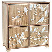 Branch - 4 Drawer Mini Chest With Bird / Tree Theme - Brown / White
