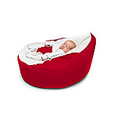 Kathy Cunliffe Cuddlesoft Pre-Filled Baby Bean Bag Seat with Adjustable Safety Harness - Red