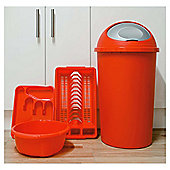 Kitchen 4 Piece Starter Set, Includes Bin, Cutlery Tray, Bowl And Drainer - Red