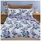 Painterly Floral Duvet Set Blue, Single