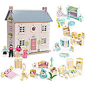 Le Toy Van Bay Tree House Dolls House, Sweetbee Furniture and Dolls