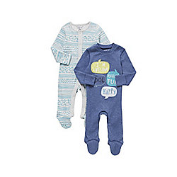 F&F 2 Pack of Speech Bubble and Wave Print Sleepsuits 00 - 03 months Blue