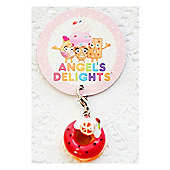 Children's Pink Doughnut with Orange Slice Clip on Charm