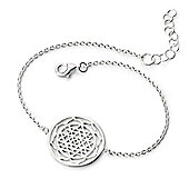 Sterling Silver Patterned Disc Bracelet