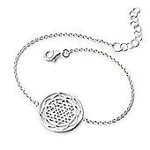Sterling Silver Patterned Disc Bracelet