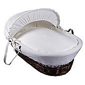 Clair de Lune Dark Wicker Moses Basket (Cotton Candy Ivory White)