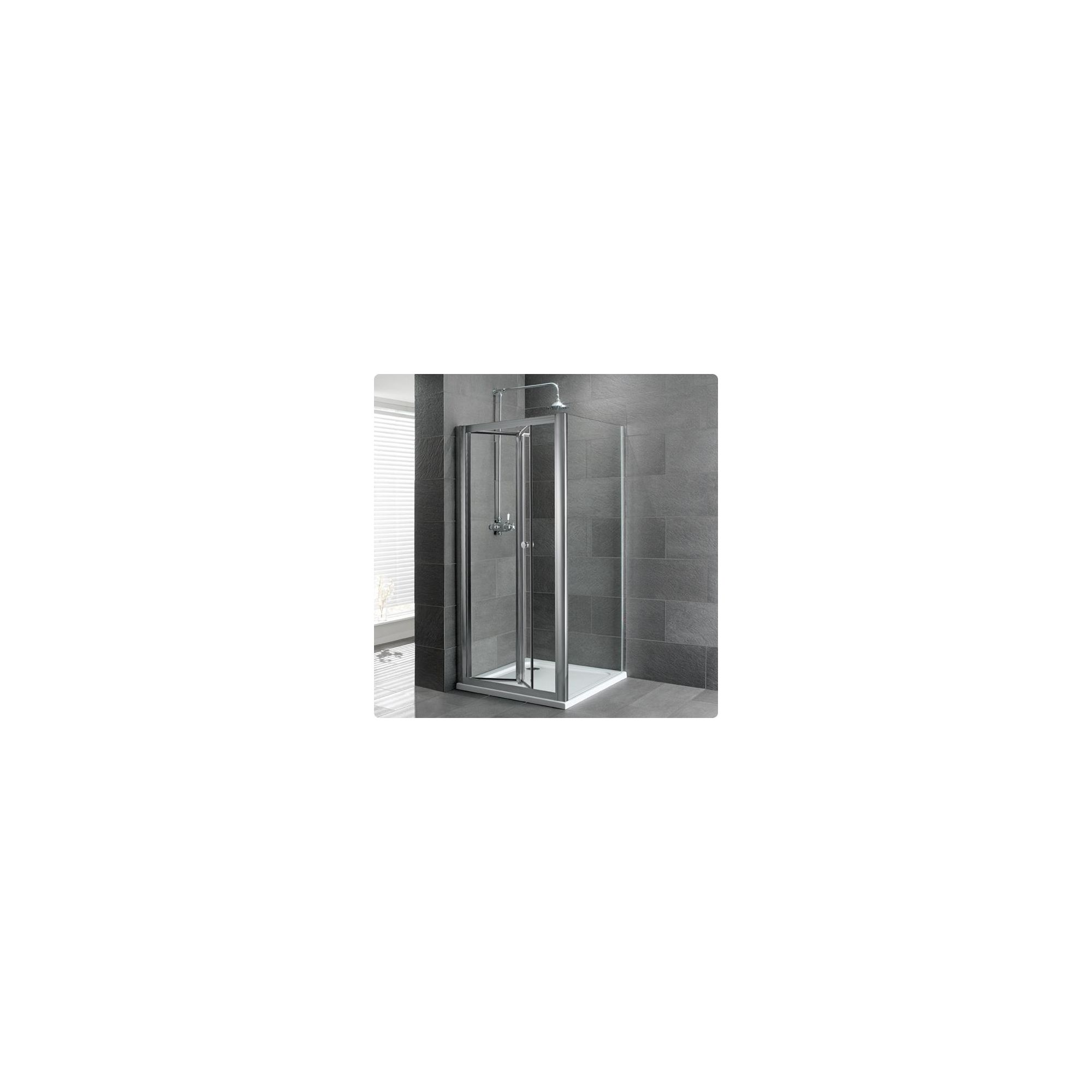 Duchy Select Silver Bi-Fold Door Shower Enclosure, 800mm x 760mm, Standard Tray, 6mm Glass at Tesco Direct