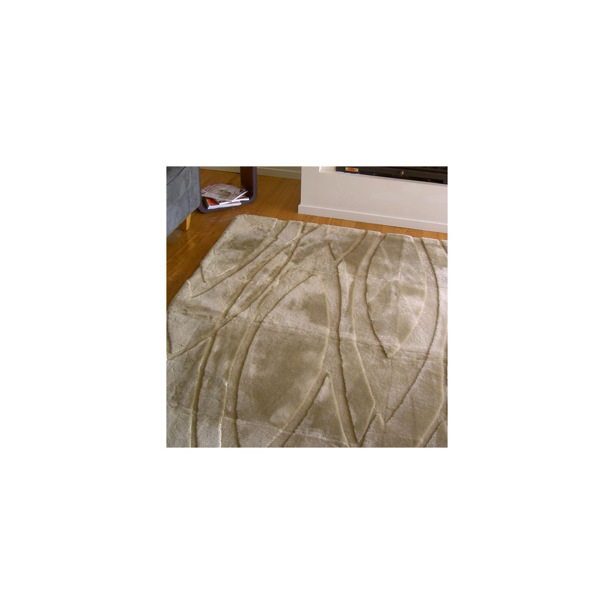 Bowron Sheepskin Shortwool Design Curves Rug - 180cm H x 120cm W x 1cm D at Tesco Direct