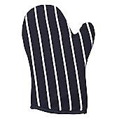 Rushbrookes Butchers Stripe Oven Glove Gauntlet, Navy