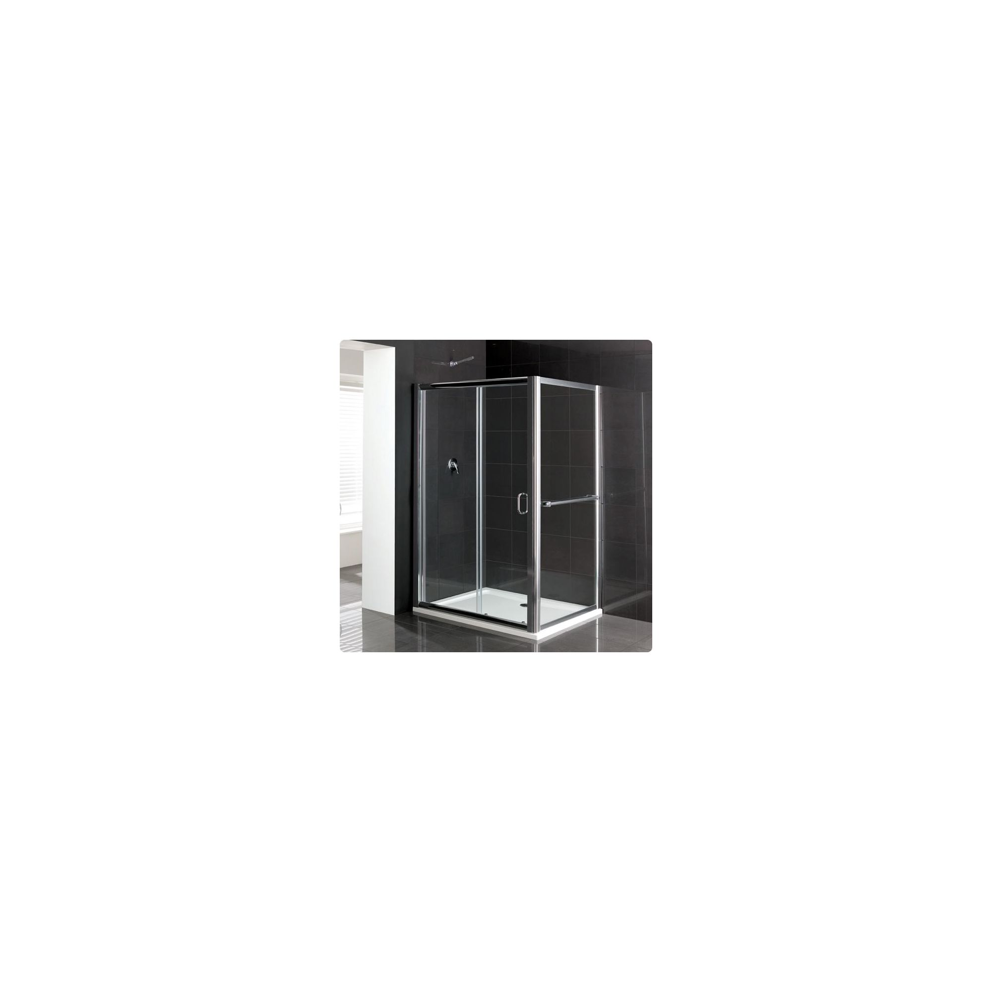 Duchy Elite Silver Sliding Door Shower Enclosure with Towel Rail, 1100mm x 700mm, Standard Tray, 6mm Glass at Tesco Direct