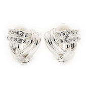 Rhodium Plated Diamante 'Knot' Clip On Earrings -17mm Diameter