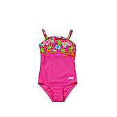 Zoggs Carnival Print Panel Swimsuit - Neon pink