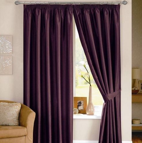 Dreams N Drapes Java Lined Curtain Including Tiebacks - 116.84cm x 182.88cm - Aubergine