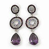 Purple Swarovski Crystal and CZ Teardrop Chandelier Earrings In Rhodium Plating - 60mm Length
