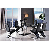 Roma Black Glass and Stainless Steel Frame 150 cm Dining Table with 6 Black Zed Chairs