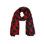 Navy and Red Large Polka Dot Scarf