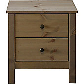 Nature - Solid Wood 2 Drawer Bedside Cabinet - Light Stain