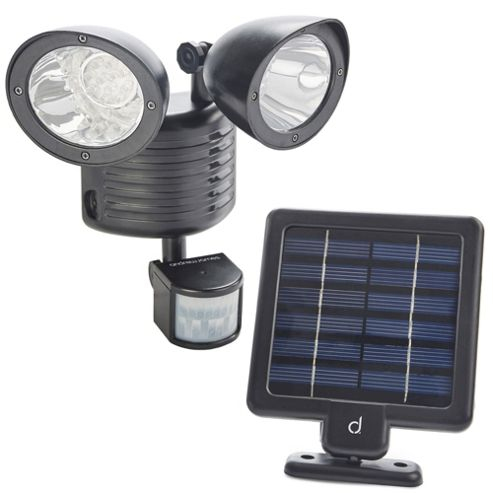 buy andrew james double solar powered security light from. Black Bedroom Furniture Sets. Home Design Ideas