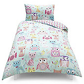 Kids Owl/Cat Single Duvet Set
