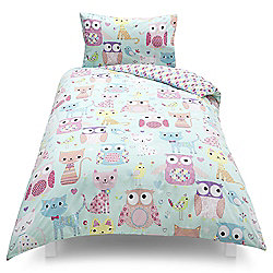 Tesco Kids Owl/Cat Single Duvet Set