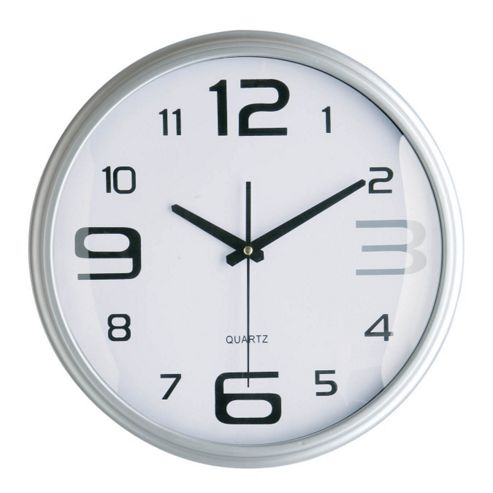 buy premier housewares round wall clock silver large. Black Bedroom Furniture Sets. Home Design Ideas