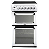Hotpoint HUE53PS, White, Electric Cooker, Double Oven, 50cm