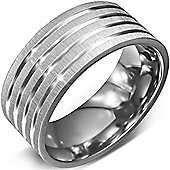 Urban Male Stainless Steel Ridged Band Ring For Men 10mm