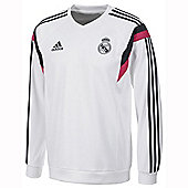 2014-15 Real Madrid Adidas Sweat Top (White) - White