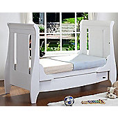 Tutti Bambini Lucas Sleigh Dropside Cot Bed with Drawer in White
