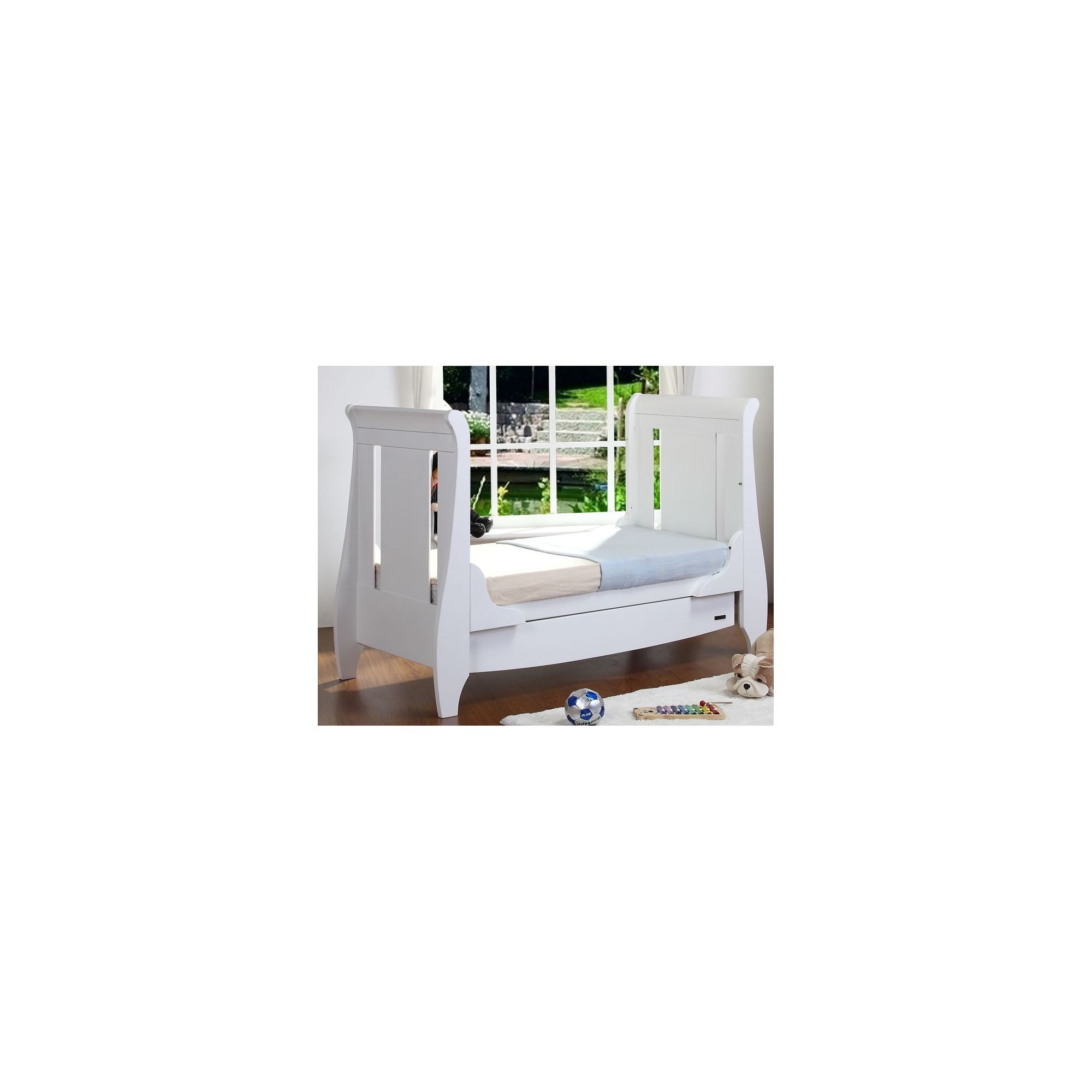 Tutti Bambini Lucas Sleigh Dropside Cot Bed with Drawer in White at Tesco Direct