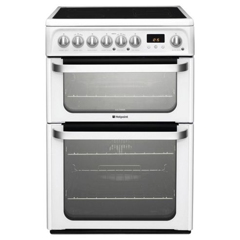 Hotpoint HUE61PS White Electric Cooker, Double Oven