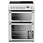 Hotpoint HUE61PS, Ultima, Freestanding, Electric Cooker, 60cm, White, Twin Cavity,  Double Oven