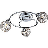 Home Essence Sienna 3 Light Semi-Flush Ceiling Light in Chrome