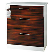 Welcome Furniture Knightsbridge 3 Drawer Deep Chest - White - Ebony
