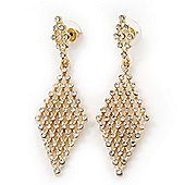 Clear Swarovski Crystal Diamond Shape Drop Earrings In Gold Plating - 6.5cm Length