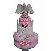 Baby Girl Gift Dumbo Elephant Nappy Cake (Three tier)