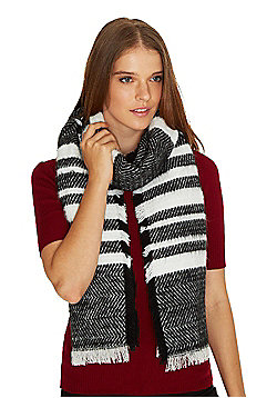 F&F Striped Fringed Scarf - White & Black